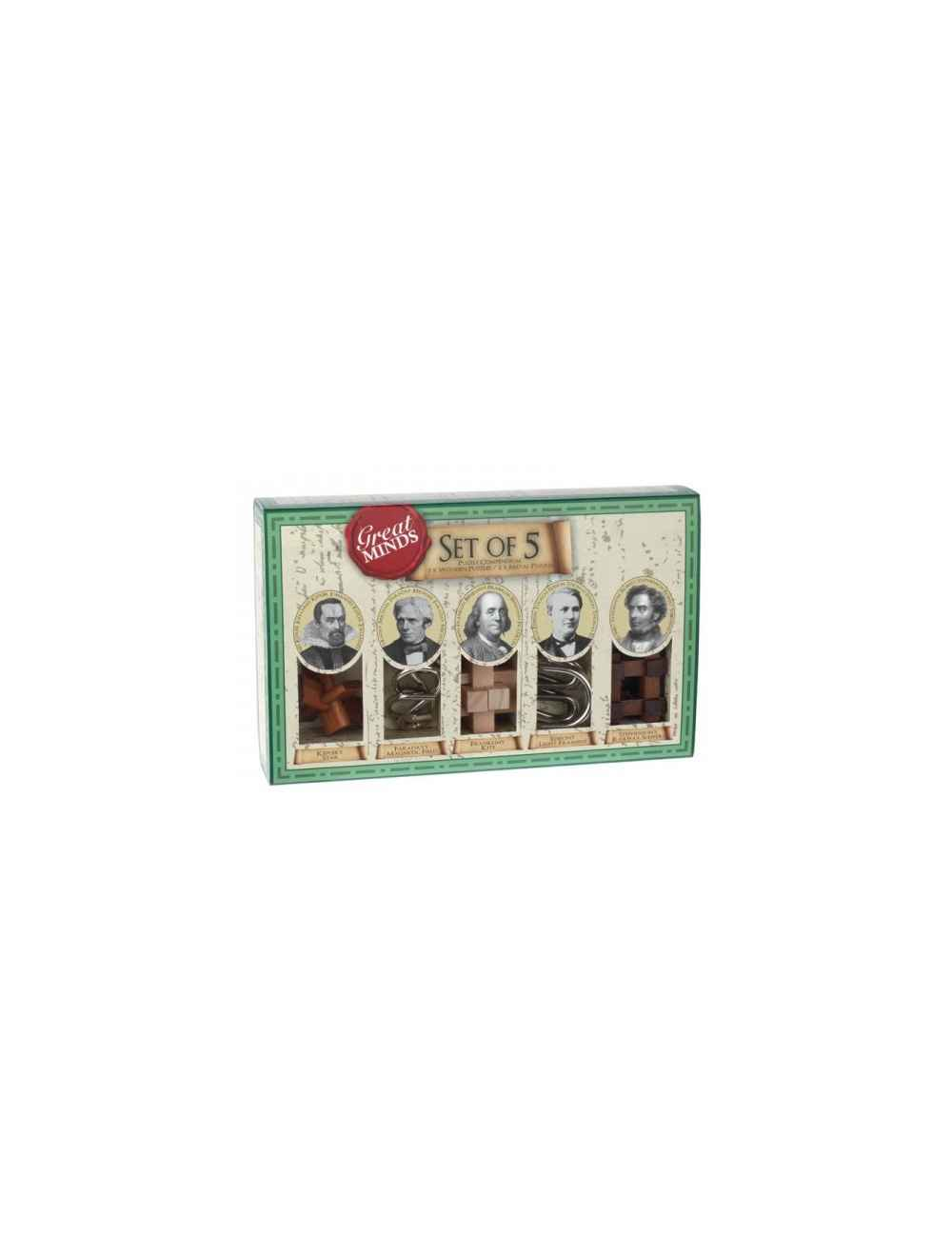 WOODEN AND METAL PUZZLES SET  5 IN 1 - GREAT MINDS