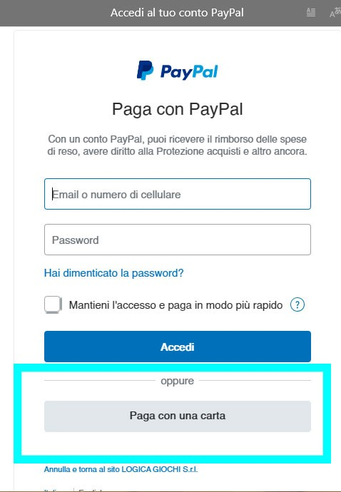Step 3:  Login To PayPal account or choose di to insert the card